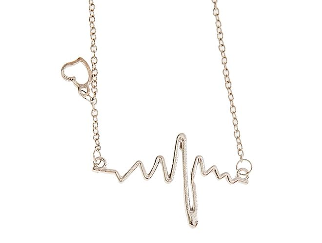 NASZYJNIK Złoty Srebrny EKG Serce HEART GOLDEN girly