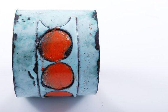 INDUSTRIAL  enameled bracelet  copper  gift  by OYRZANOWSKA