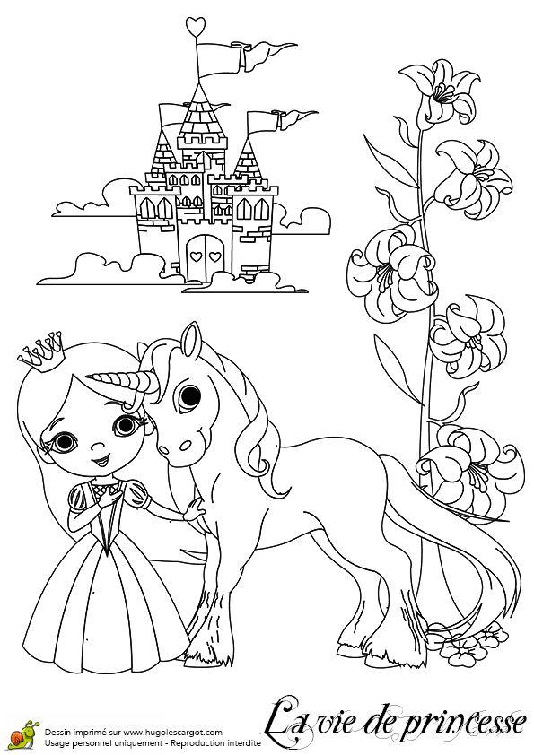 Coloriage du dessin illustrant barbie sa licorne et son - Coloriage de chateau ...