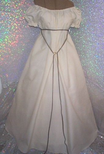 CIVIL-WAR-SOUTHERN-IVORY-CREAM-CHEMISE-GOWN-DAY-DRESS