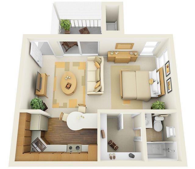 Studio 3d floor plan architecture pinterest for Studio apartment floor plans 3d