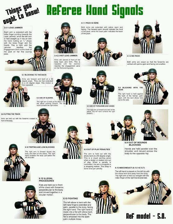Roller derby referee hand signals! Look and learn.