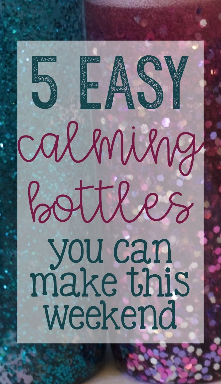 easy calming/sensory bottles for school counseling using glue, water beads, glitter, and food coloring!