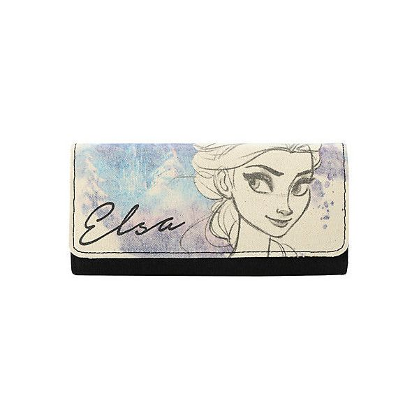 Disney Frozen Elsa Sketch Flap Wallet | Hot Topic ($35) ❤ liked on Polyvore featuring bags, wallets, disney, credit card holder wallet, snowflake bags, flap wallet, brown bag and disney bags