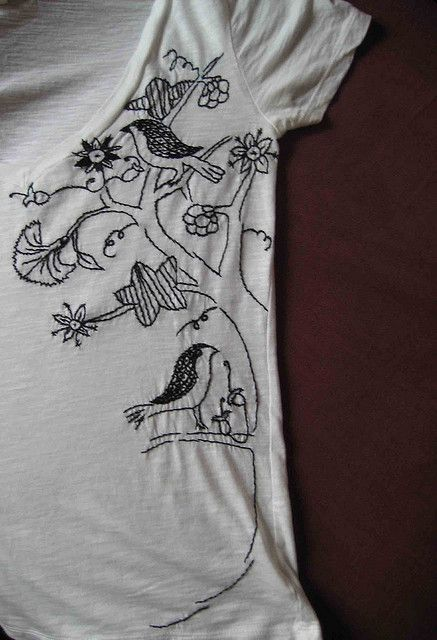 shirt with blackwork