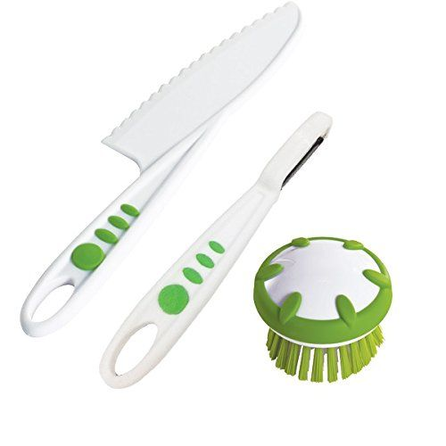 Real Kitchen Tools and Cookbook for Kids - Curious Chef 3 Piece Vegetable Prep Tool Set, Child, Green/White