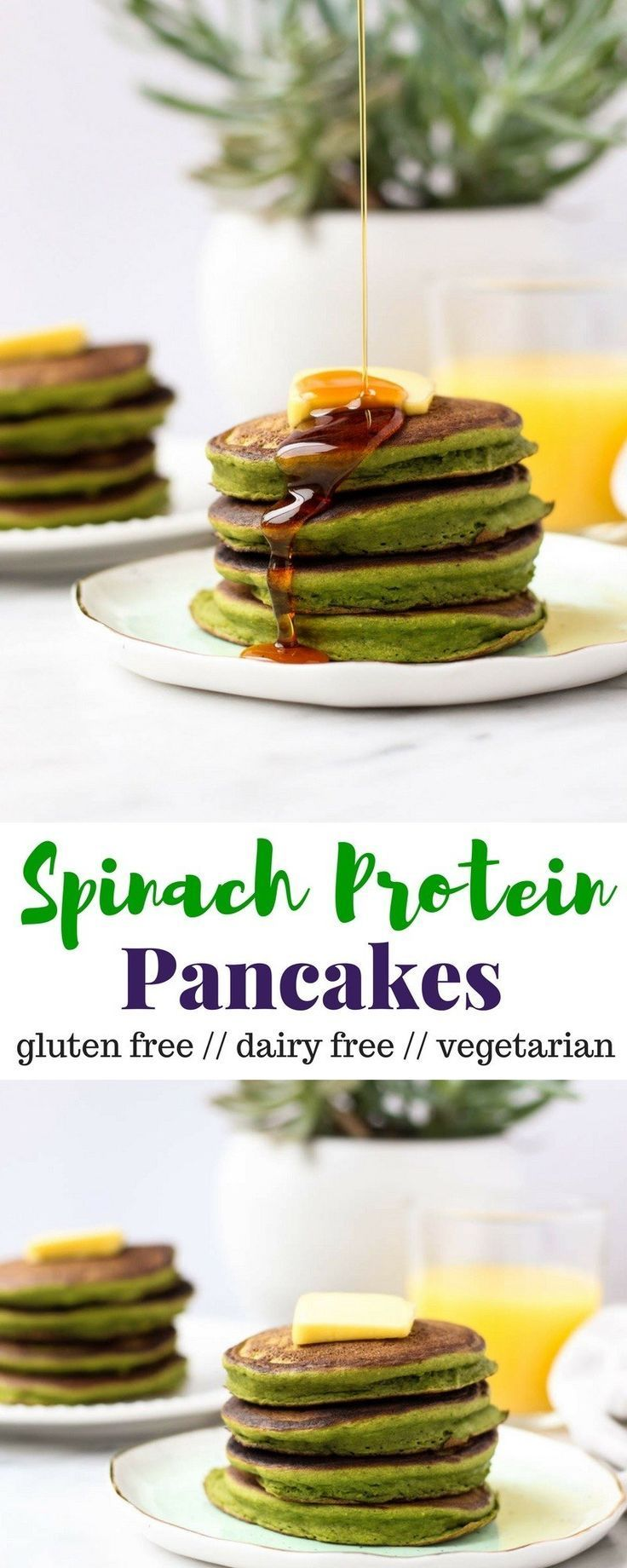 Start your day with protein and veggies in these Spinach Protein Pancakes! A fun way to add some greens while keeping them gluten free, dairy free, and vegetarian - Eat the Gains