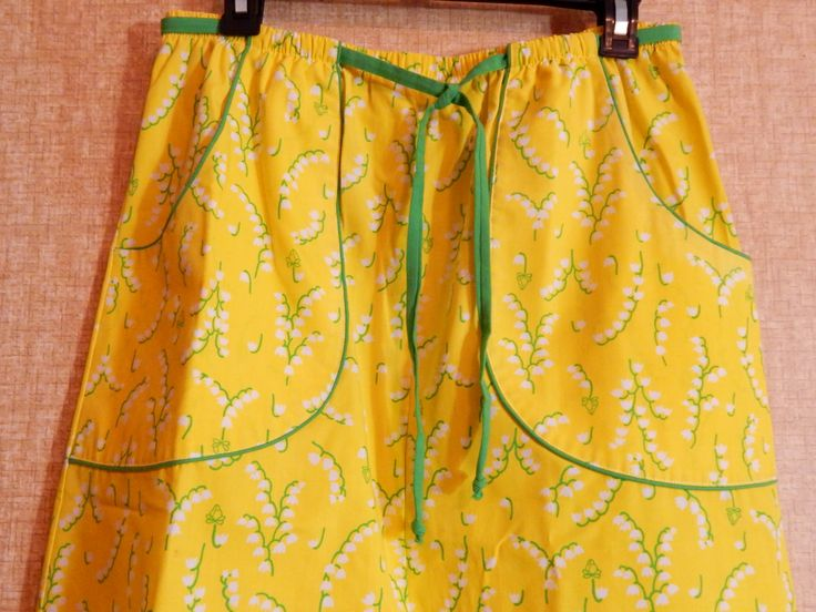 Vintage Frog Tog Skirt Julia Montgomery Garden Lemon Yellow Grass Green Belt White Lily of the Valley Flowers Reminds Us of Lilly Pulitzer by OffbeatAvenue on Etsy
