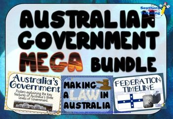 Australian Government Mega Bundle - Federation Timeline, Making a Law in Australia Flowchart Posters, Australia's 3 Level of Government Posters and Worksheets.