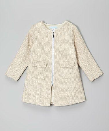 Beige Zip-Up Wool-Blend Swing Coat - Toddler & Girls