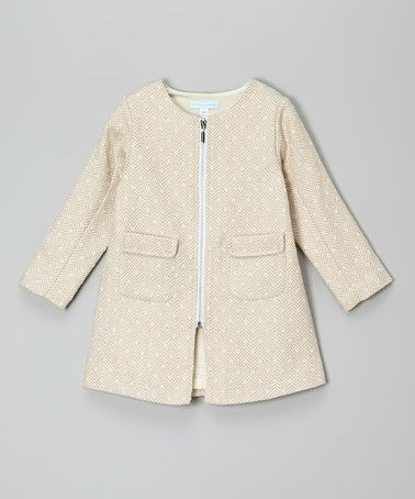 Love this Beige Zip-Up Wool-Blend Swing Coat - Toddler & Girls on #zulily! #zulilyfinds