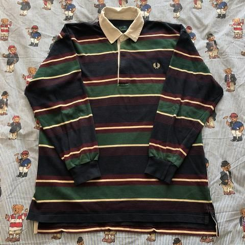 Vintage 90s Forest Green & Navy Fred Perry Rugby Shirt 🌲 (M)