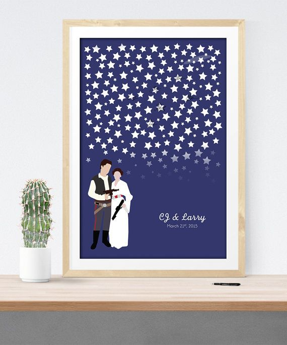 Wedding Guest Book for Star Wars wedding, Alternative guestbook print guest sign in board Han Solo Leia