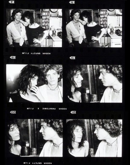 """Contact sheet from shoot with Patti Smith and Robert Robert Mapplethorpe"", by Norman Seeff, 1969"