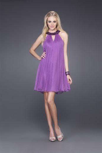 Scoop Paiiette Ruffle Cool Beach Simple Charming Purple Organza Tea Length Evening Dress-EB-65589190-US $105