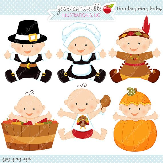 Thanksgiving Baby Cute Digital Clipart - Commercial Use OK - Thanksgiving Graphics, Baby Thanksgiving, Autumn Baby Clipart on Etsy, $5.00
