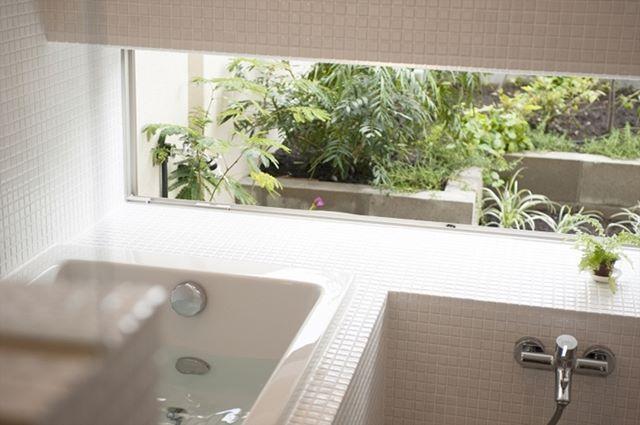 モザイクタイル張りの緑の見えるバスルーム   ガーデンテラスのある家 #桜山建築設計   オシャレなタイルを月日まで限定セール セール会場には @tilelife.co.jp のURLをクリックしてご来場ください  . . #バスルーム#浴室 #bath #シンプルテイスト #タイルライフ #tilelife #家づくり #マイホーム #新築 #リノベーション #リフォーム #家づくり #工務店 #マイホーム計画 #一戸建て #住まい #建築家 #戸建 #マイホーム計画中 #タイル #タイル貼り #タイル張り #モザイクタイル #ハウスノート #housenote
