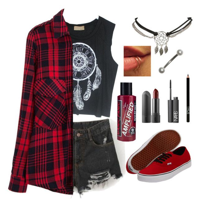 """""""Red n Black"""" by pine-leaves ❤ liked on Polyvore featuring Chicnova Fashion, Vans, Manic Panic NYC, NARS Cosmetics, Wet Seal and FACE Stockholm"""