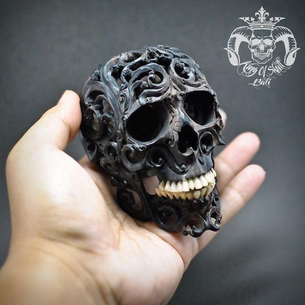 Realistic Human Hand Carved Filigree Skull With Teeth From Buffalo Bone #THB2