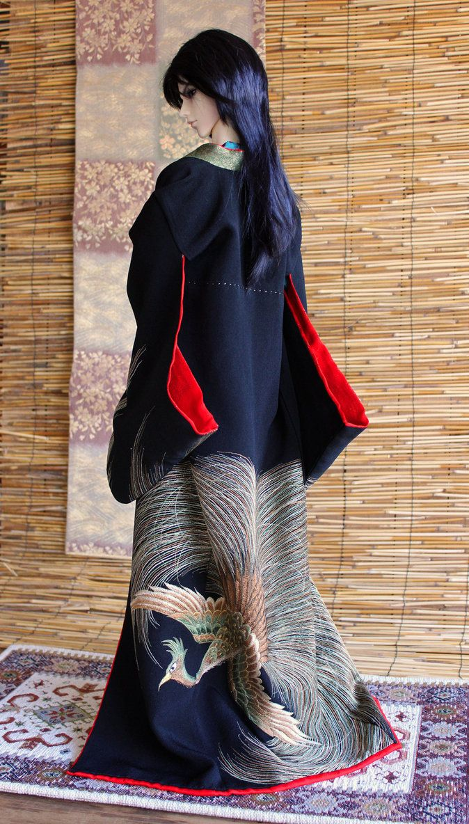 BJD kimono, Golden Phoenix by InarisansCrafts
