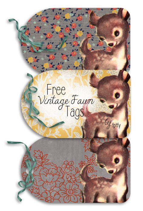 Because i ALWAYS run out of #christmas tags!!! not this year my friends, not this year!! Free #Vintage Fawn Fall Printable #Tags