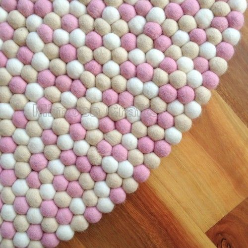 Peach Pink Felt Ball Rug