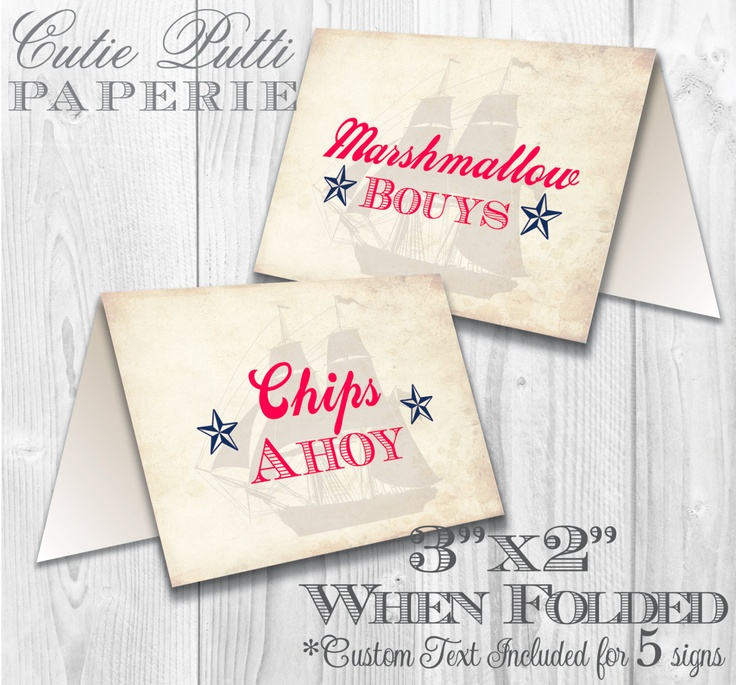 Nautical Party, Sailor Party - PRINTABLE TENT SIGNS - Cutie Putti Paperie. $7.50, via Etsy.