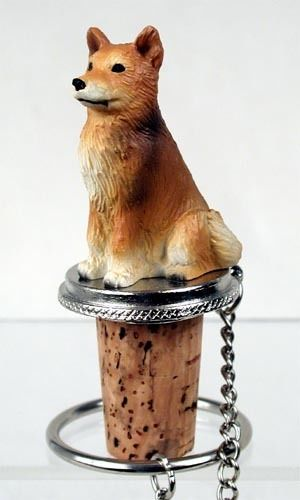 Realistic Elegant Hand Painted Finnish Spitz Figurine on Wine Bottle…