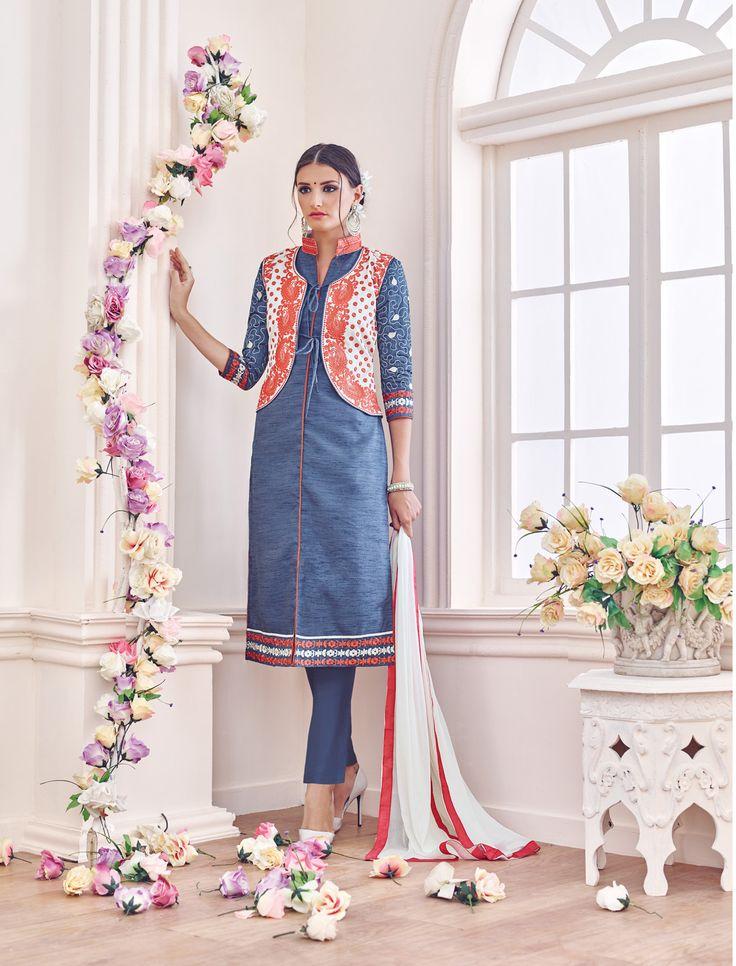 Light Blue Embroidered Koti Straight Suit