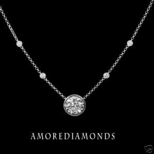 1.20 ct G SI1 round ideal cut diamonds by the yard solitaire necklace 18 gold