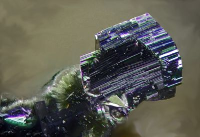 Rockbridgeite, (Fe++,Mn)Fe+++4(PO4)3(OH)5, Beraunite, Sítio do Castelo Mine, Folgosinho, Gouveia, Guarda District, Portugal. Rockbrigeite crystals black,with Beraunite crystals greenish , p.w. 1.39 mm. Copyright: © Ko Jansen