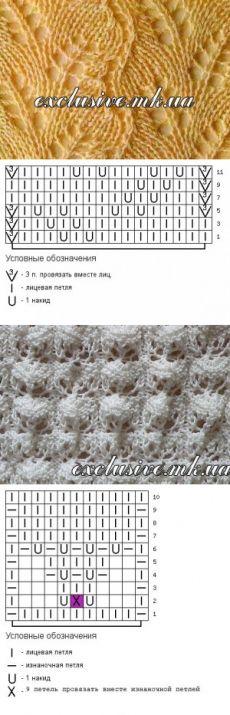Фантазийные ажурные узоры спицами с описанием и схемами   Салон эксклюзивного вязания