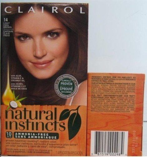 Clairol Natural Instincts Haircolor, Light Cool Brown 6A:   Natural Instincts Non-Permanent Hair Color system with Aloe, Vitamin E, & Coconut Oil - it's proven healthier-looking radiant color.