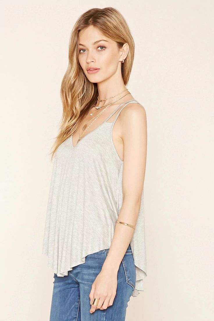 F21 Contermporary- A heathered cami featuring a V-neckline, strappy back, flowy silhouette and a raw cut hem. #f21contemporary