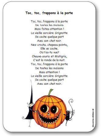 Comptine pour enfants maternelle, cycle 2, sur le thème d'Halloween et des sorcières. Comptine Toc toc frappons à la porte
