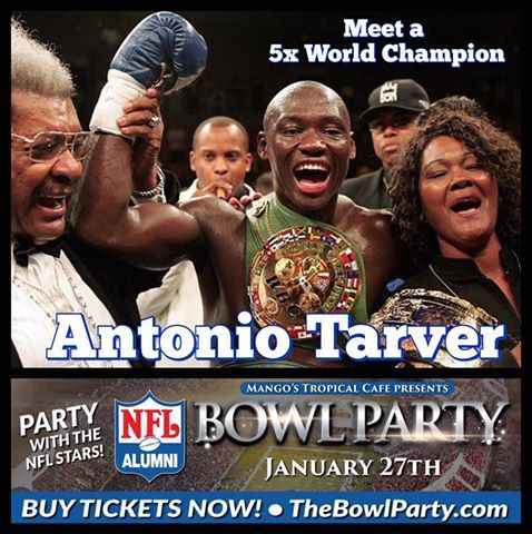 "The Man Who Knocked out Roy Jones Jr & Tied with Rocky Balboa 👊👊 Welcome 5-Time World Boxing Champion ANTONIO ""Magic Man"" TARVER!!! Meet him at TheBowlParty.com Jan.27 hosted by Mango's Tropical Cafe - Orlando! For $65 Eat all night & Drink, Dance & Meet the stars ✨ Bring your camera!  JAN 27th The GREATEST Who's Who Networking party event of the year in Central FL!"