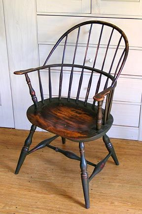 Georgian: U0027Sack Backu0027 Windsor Chair Produced In Philadelphia, PA. Oval Seat