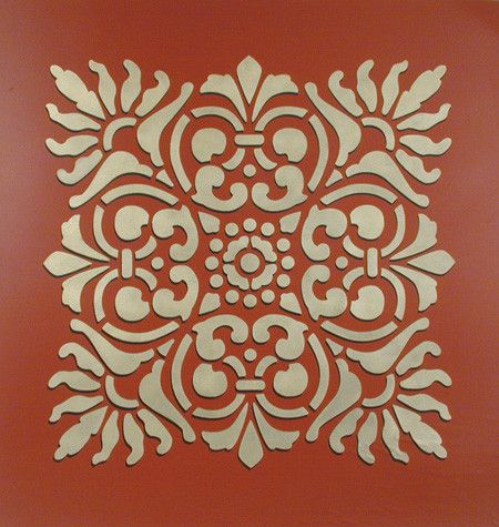 Create an accent wall or decorate larger surfaces with our Sicilia Tile Wall Stencil. Stencil this pattern as a single wall art motif, create a faux tile effect
