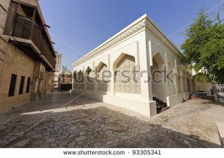 Mosque in  Dubai Bastakiya District, UAE - The Bastakia quarter, or Bastakiya, is an area of Dubai on the Bur Dubai side of the Dubai Creek that dates from the 1890s.