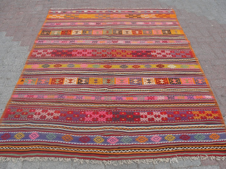 "Natural Wool Turkish Blackgoats Cicim Kilim Rug 62"" x 85"". $275.00, via Etsy."
