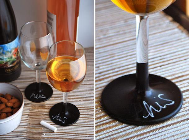 chalk board wine glasses, love this idea!