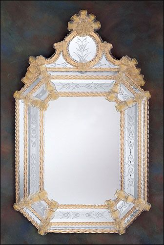 Simple Venetian mirror framed in hand etched glass with gold highlights trimmed with glass ribbons New Design - Contemporary venetian glass mirror Top Search
