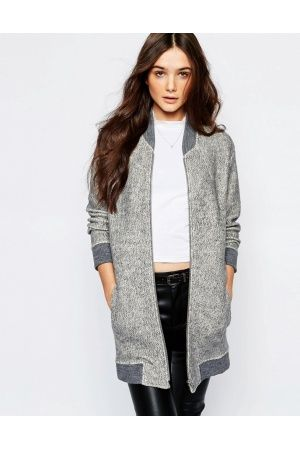 Women Bomber Jackets - MANGO Premium Zip Front Long Bomber Jacket