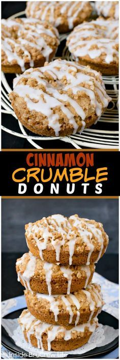 Cinnamon Crumble Donuts - these easy baked donuts are loaded with spices and streusel. The drizzle of glaze makes them absolutely irresistible and delicious. Great recipe to make for breakfast or afternoon coffee breaks. #donuts #cinnamon #homemade #coffeetime #brunch #breakfast #cakedonuts #baked