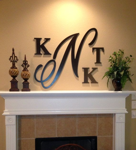 Large monogram hand painted wooden letters - wall decor, wedding, nur ...