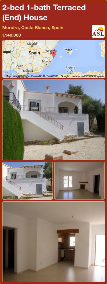 2-bed 1-bath Terraced (End) House in Moraira, Costa Blanca, Spain ►€140,000 #PropertyForSaleInSpain