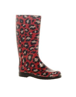 Moschino Cheap and Chic Leopard Print Wellington Boots - what is there not to love about red leopard print wellies?