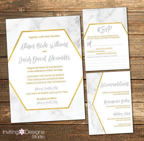 Marble Wedding Invitation Marbled Wedding by InvitingDesignStudio