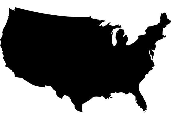 North America Map Outine Car Decal Sticker