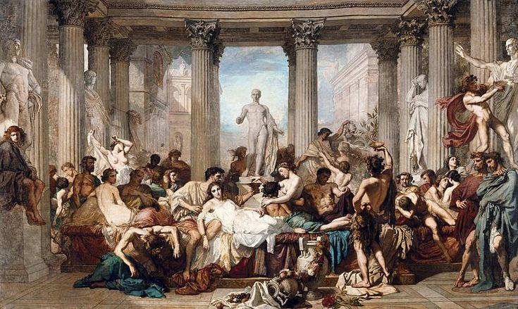"""Thomas Couture (1815-1879) """"Romains de la décadence"""", 1847, Paris, Musée d'Orsay"""